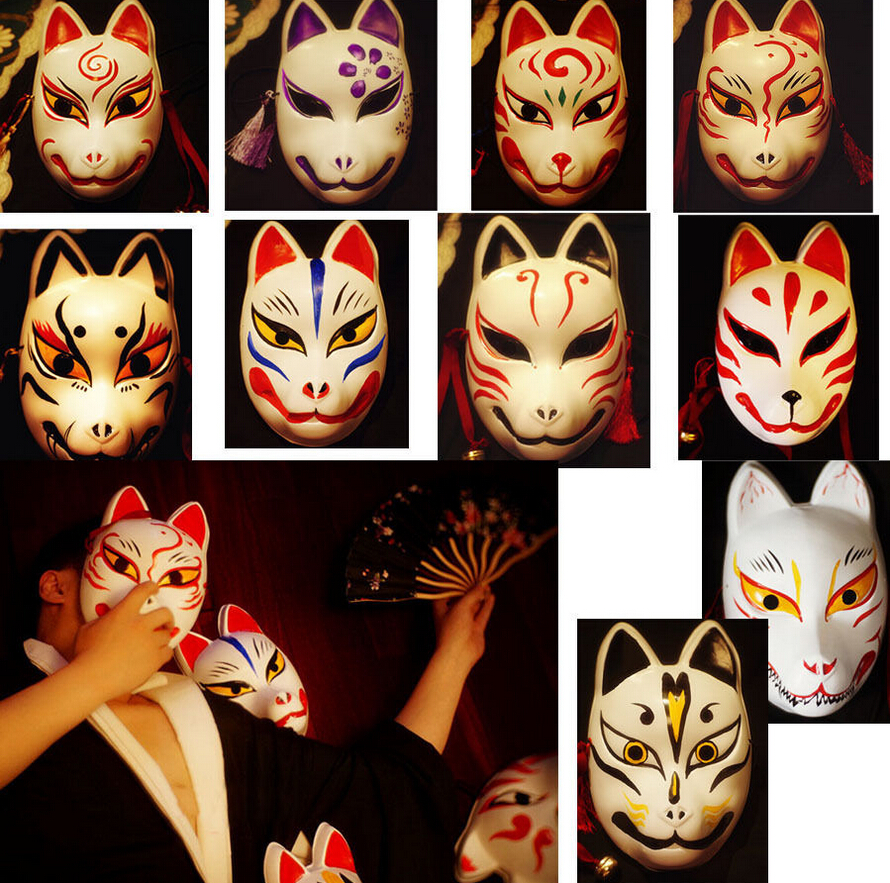 Full Face Hand Painted Japanese Fox PVC Red Kitsune Cosplay Mask Party Halloween Mask