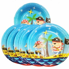 6pc/set 7inch Pirate birthday party supplies Plates For Kids Favors Birthday Baby Shower Party Disposable Set Plate