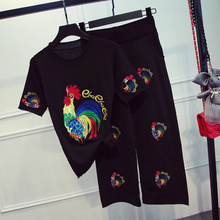 new spring and summer 2017 European women stand cock seven sequins embroidery short sleeve sweater wide