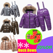 40 Degree Russian Winter Children White Duck Down Set Boys Girls Real Fur Hooded Collar Strap Suit Kids Snow Ski Suits