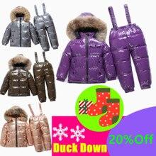 40 תואר רוסית חורף ילדי לבן ברווז למטה סט בני בנות אמיתי פרווה סלעית צווארון רצועת חליפת ילדים שלג סקי חליפות