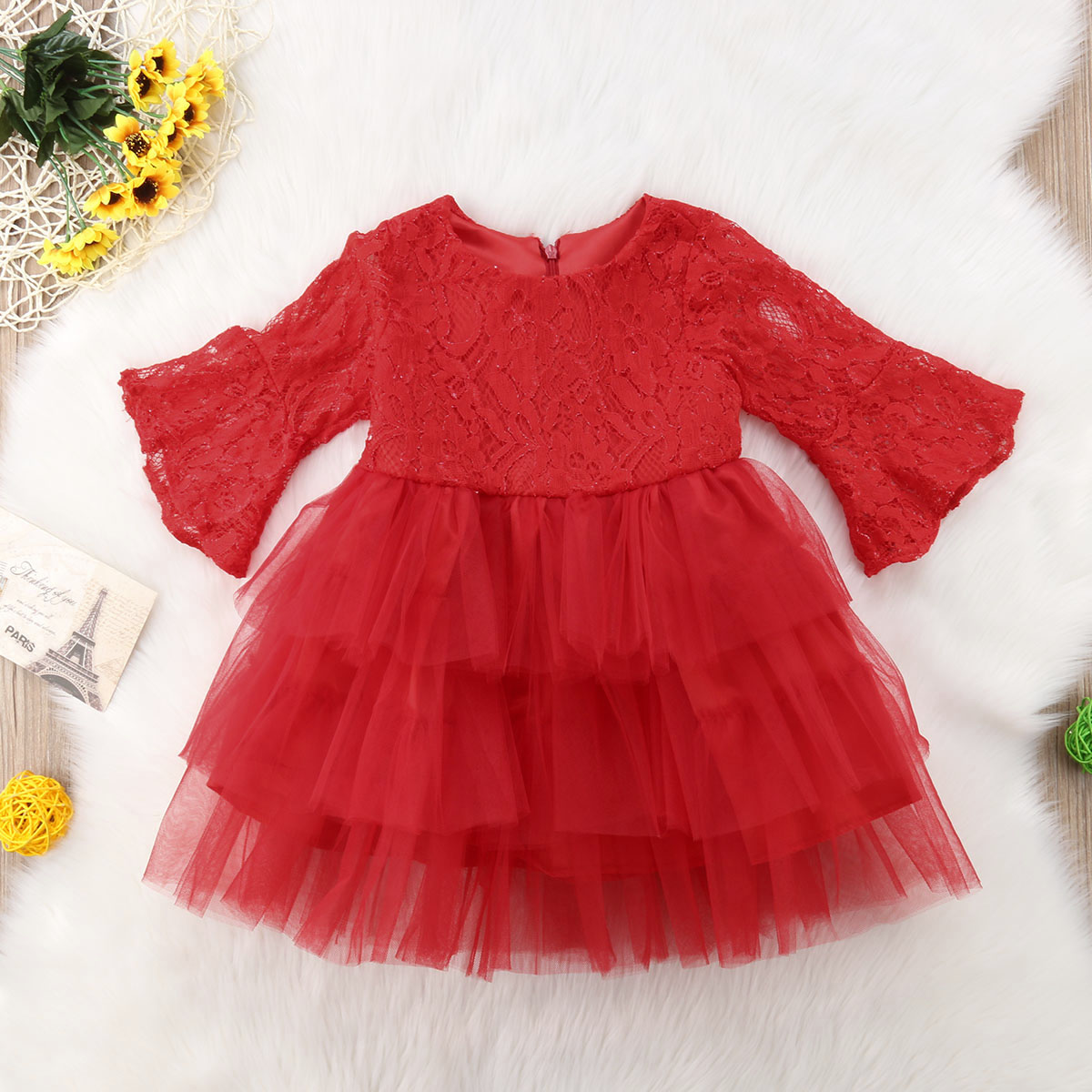 2018 Brand New Princess Formal Party Dress Toddler Baby Girl Layered