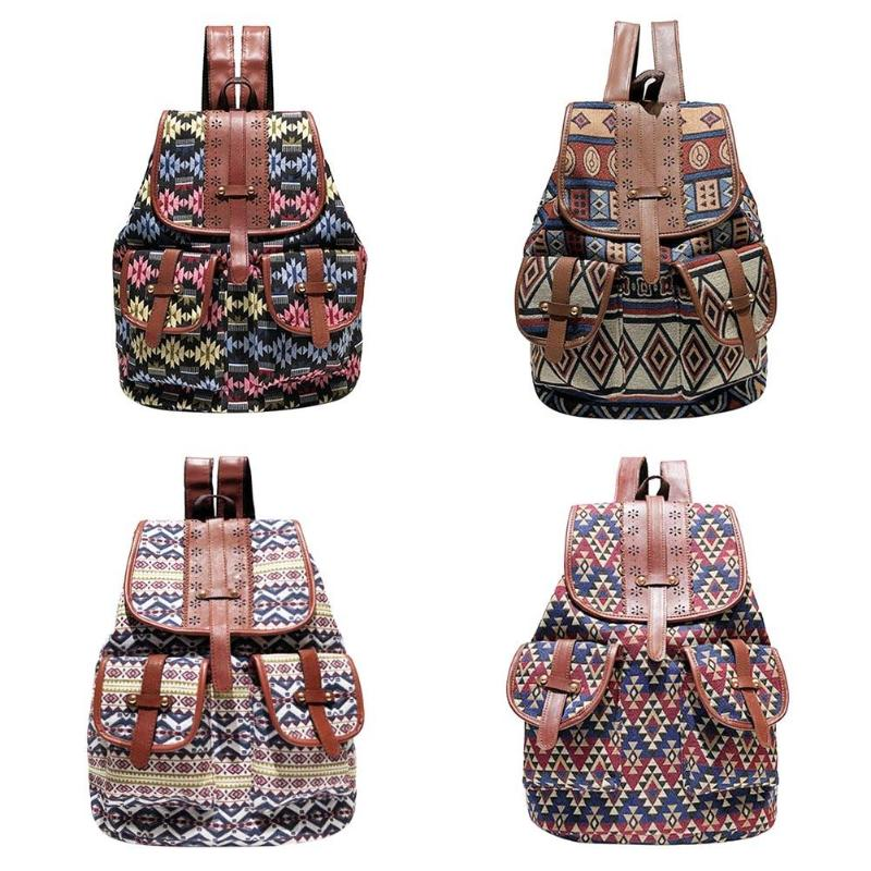 Backpack For Drawstring Design Canavs Backpack Girls Small Bohemian Vintage Printing Ladies Rucksack Sac A Dos