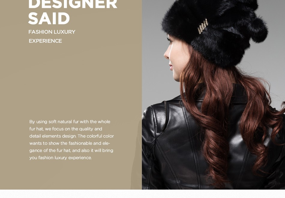 mink fur winter hats for women PCM028 (3)
