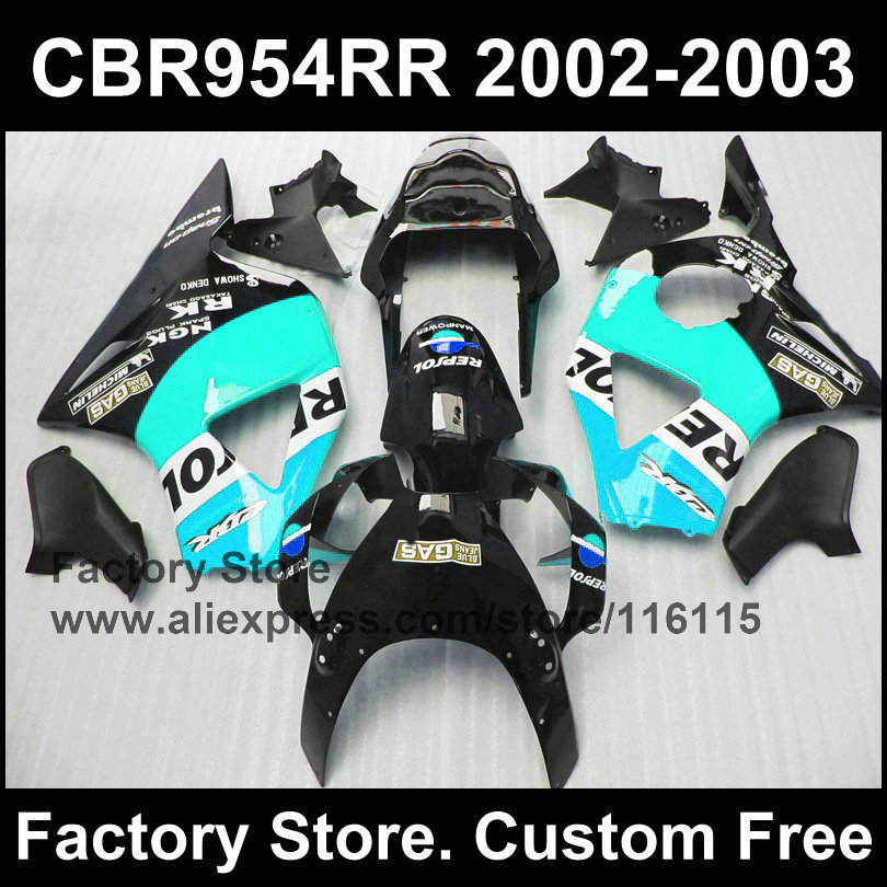 Rechts blau repsol 100% ABS verkleidung kit für HONDA CBR900RR 2002 2003 fireblade neue verkleidung CBR 954 RR 02 03