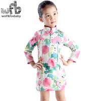 Retail 2 8 Years Baby Girl Cotton Chinese Tradition Classical Cheongsam Pastoral Style Ethnic Costume Individuality