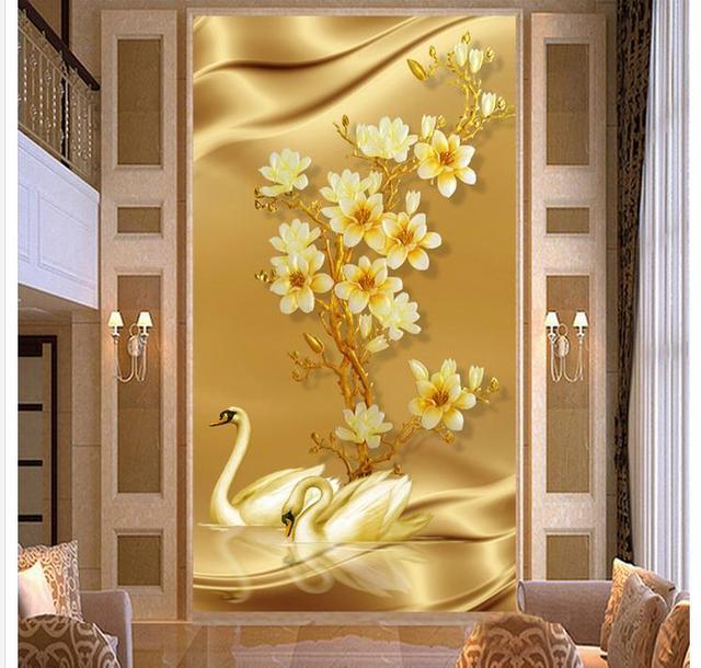 3d customized wallpaper Golden Swan entrance FIG gold background ...