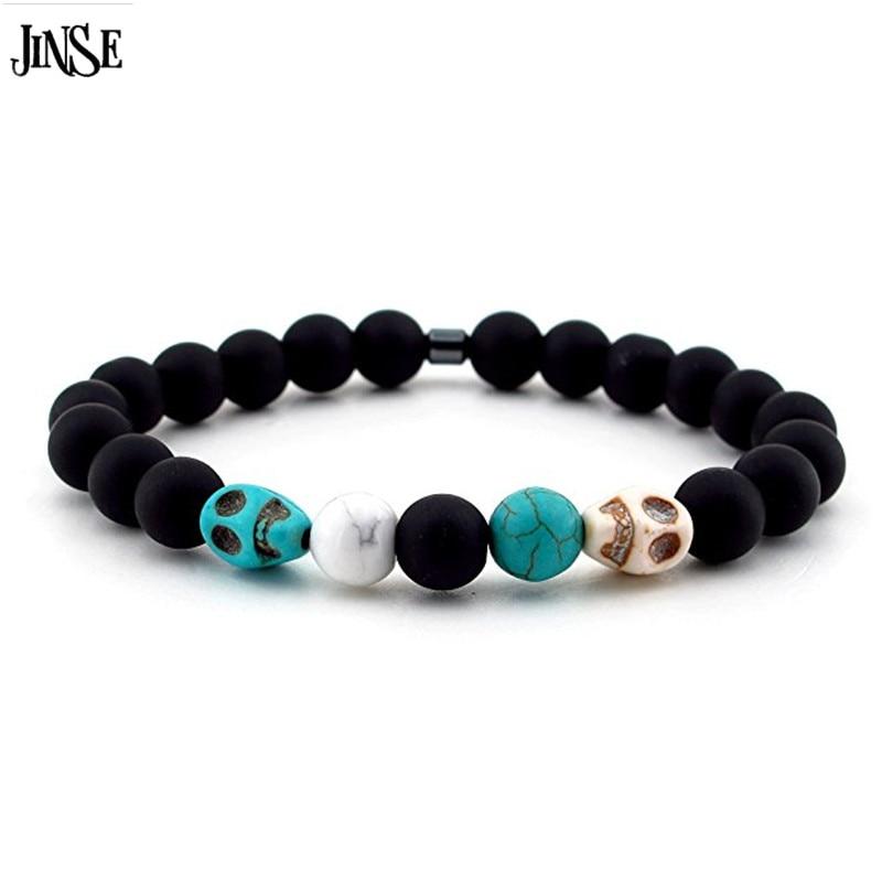 JINSE mode hommes Bracelet pierre naturelle MatteTurquoise Howlite squelette crânes charmes manchette Bracelets SKB007