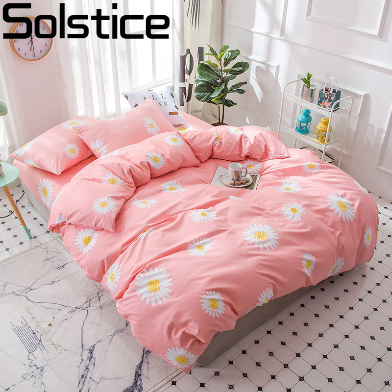 Solstice Pillowcase Bedding-Set Child Duvet-Cover Bed-Sheets Linens Tangerine Flower-Girls