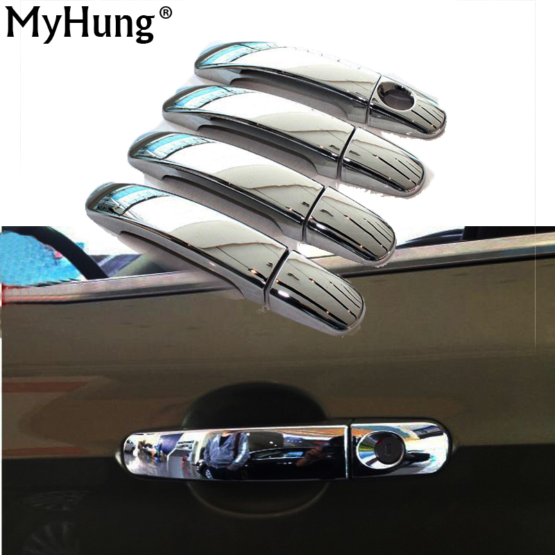 For Ford KUGA ESCAPE 2013 2014 2015 Car Chrome Side door Handle Cover Trim with 1 keyhole car exterior accessory car styling chrome front bumper lip cover trim with mustang logo for ford fusion 2013 2014