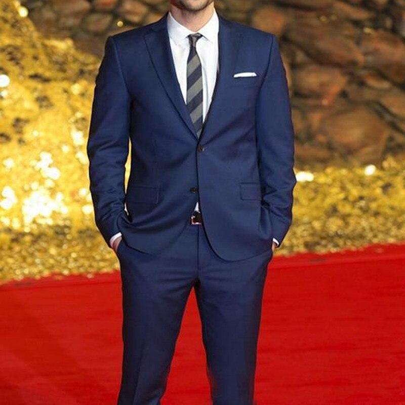 Terno Masculino hombre esmoquin trajes de boda 2019 azul hombre celebridad alfombra roja hombres trajes de dos botones trajes de padrino (chaqueta + Pantalones)-in Trajes from Ropa de hombre    1