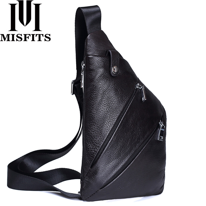 MISFITS NEW Genuine Leather Men Chest Bag Fashion Crossbody Bag Men Messenger Bags Cow Leather Travel Pack For Male Shoulder Bag