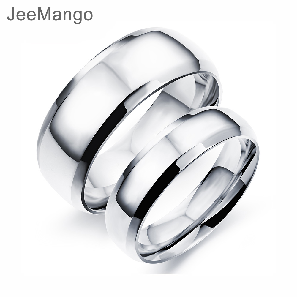 It is just a photo of US $448.48 4481% OFFJeeMango Trendy Stainless Steel Couple Wedding Ring Classic White Gold Color Jewelry Engagement Finger Rings For Women OGJ48PWedding