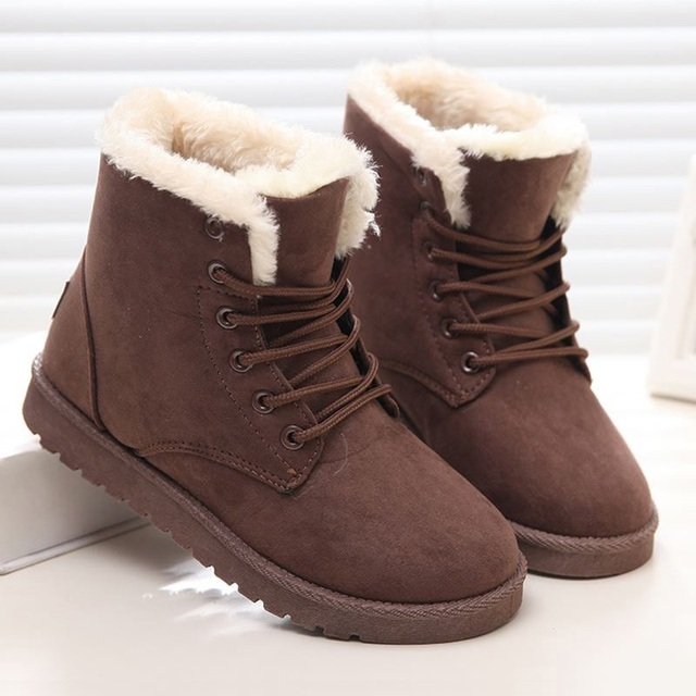 Women Winter Boots Fashion Warm Women Boots Plush Winter Shoes Women Ankle  Boots Lace Up Flock 97918b337d
