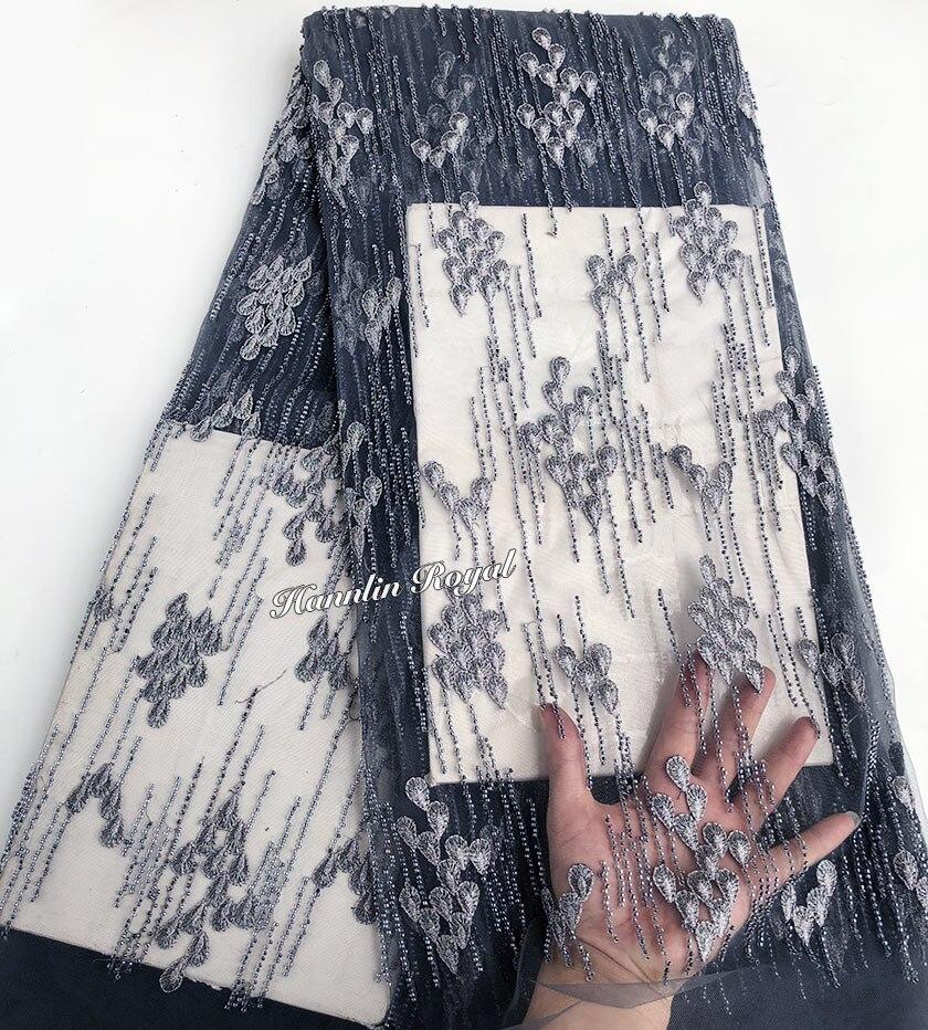 Плотная серый повторяющийся Кристалл небольшие бусины большой богатых африканских французского кружева в нигерийском стиле швейная Тюль