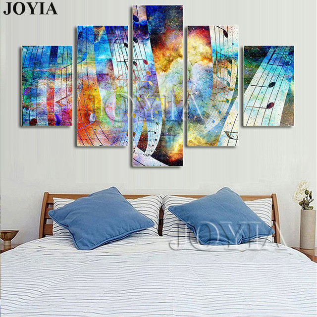 5 Abstract Paintings Music Symbol Pop Art Canvas Painting Color Sky Wall Pictures Poster Prints Home Living Room Decor No Frame