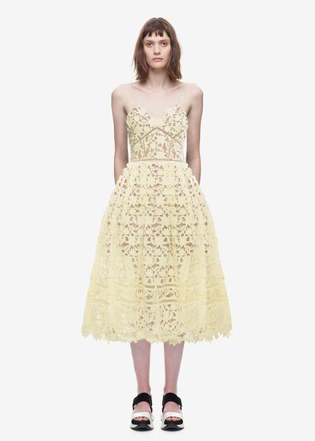 V-neck Flower Lace  Long Dress
