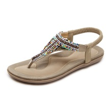 Women's sandals bohemian style fashion summer non-slip casual comfortable flat bottom sandals women shoes mother sandals soft leather large size flat sandals summer casual comfortable non slip in the elderly women s shoes 35 40 41