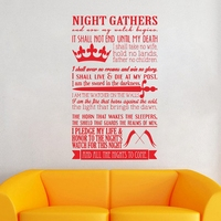 A Song Of Ice And Fire Game Of Thrones Poster Night S Watch Oath Vinyl Wall