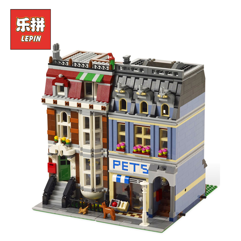 Lepin 15009 City Street Pet Shop Supermarket Set DIY Model Building Kits Blocks Bricks Children Toy Christmas Gift House Lepin the new jjrc1001 lepin city construction series building blocks diy christmas gift for kid legoe city winter christmas hut toy