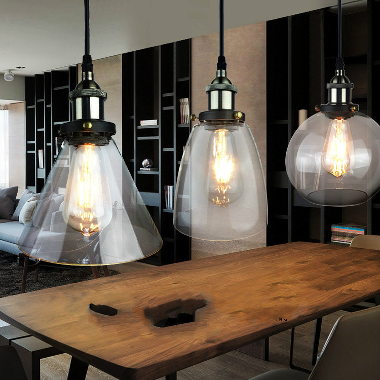 Edison Industrial Iron Body Glass Shade Light for Living/Dining Room Simple Modern pendant lights and lighting indoor lamp modern simple european style dining room lighting american hollow carved iron bedroom pendant lights