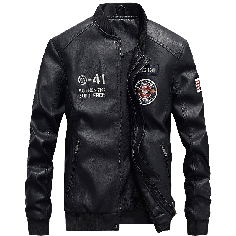 New Men's Leather Jacket Coat Male 4XL Stand Collar Casual Pilot PU Leather Jacket Men Bike Jacket Brand Clothing AG7702 image