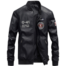 Новая мужская флисовая кожаная куртка с воротником-стойкой Повседневная PU пилотный кожаный жакет Мужская зимняя кожаная куртка плюс размер 4XL B16F7702