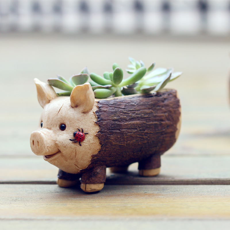 Image 3 - Roogo Creative Pig Design Flowerpot Resin Wood Flower Pots Micro Landscape Ornaments Planter for Home Indoor-in Flower Pots & Planters from Home & Garden