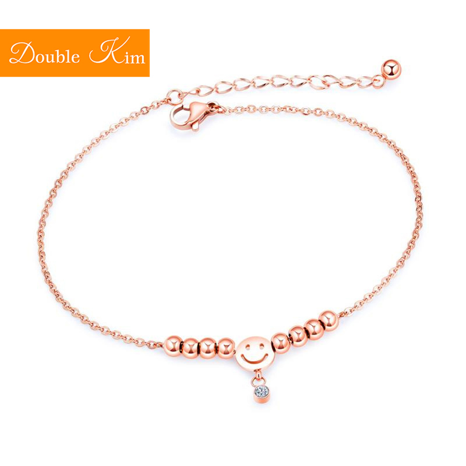 Zircon Smiling Face Anklet Rose Gold Color Titanium Stainless Steel Material Inlaid Zircon Anklets Fashion Trendy Women Jewelry