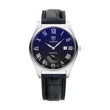 LinTimes Women Men Wristwatches Leather Strap Business Style Small Pointer Luminous Calendar