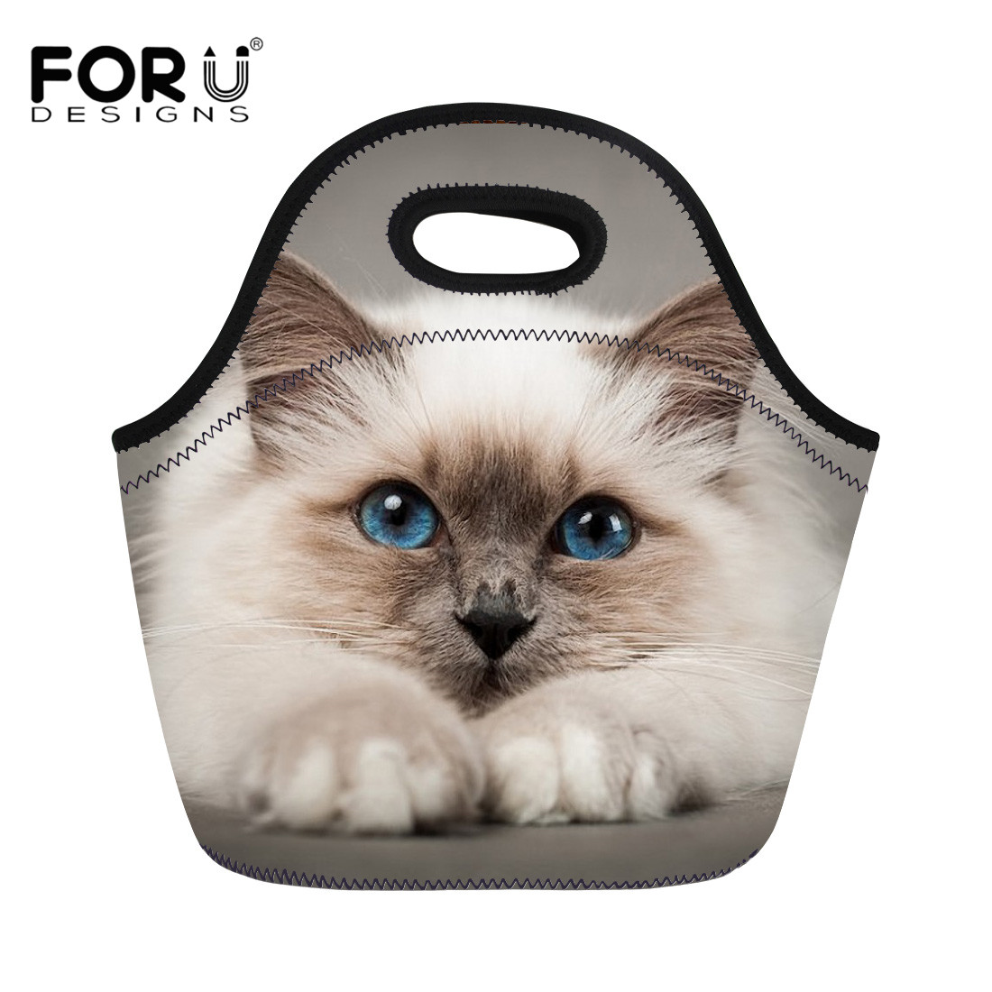 FORUDESIGNS Thermo Lunch Bags Siamese Cat Kawaii for Kids Food Bag Portable Picnic Bag Women Handbag Cooler Insulated Lunch Box