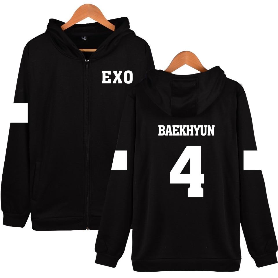 New SUHO 1 Design Hoodies Women Hip Hop With Zipper EXO Kpop Fashion Black Cotton Long Sleeve Womens Winter Jackets And Coats