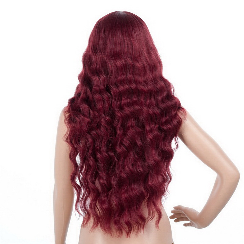 Anogol Anime Wigs Teen Titans Starfire Natural Long Straight Princess Wine Red Synthetic Cosplay Wig For Halloween Party Costume Synthetic Wigs