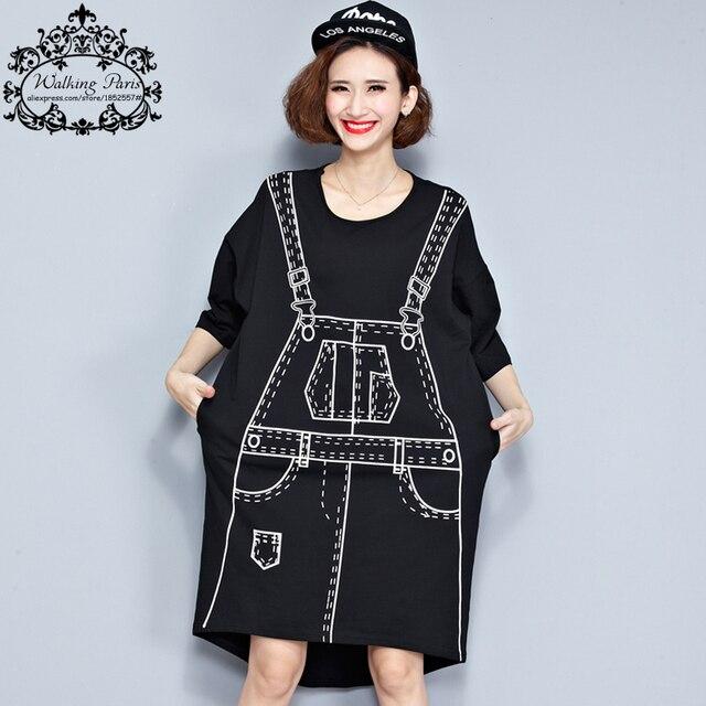 Плюс Размер Осень Dress 3D Рисунок Принт Футболка Хлопок Женские Hlaf Футболка Мода Большой Размер Каваи Панк Черный Свободные Новые Вершины