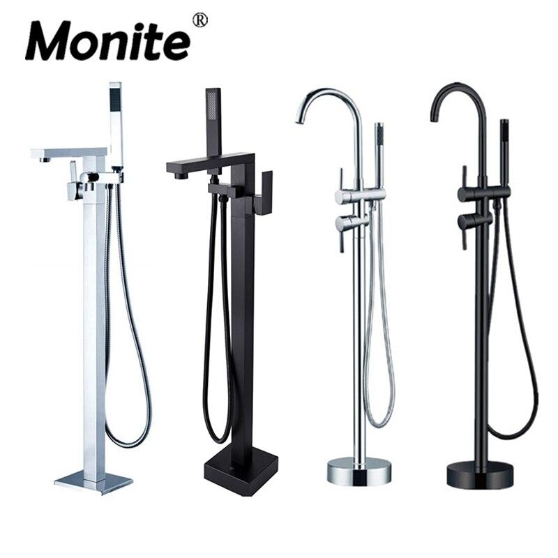 Chrome Polish ORB Solid Brass Floor Standing Tub Shower Faucet with Hand Shower Head Bathroom Shower Systerm Set Bathtub