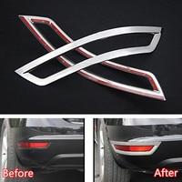YAQUICKA 2Pcs/set Car Stainless Steel Rear Tail Fog Light Lamp Frame Trim Sticker For Volkswagen Sharan 2013 2016 Car styling