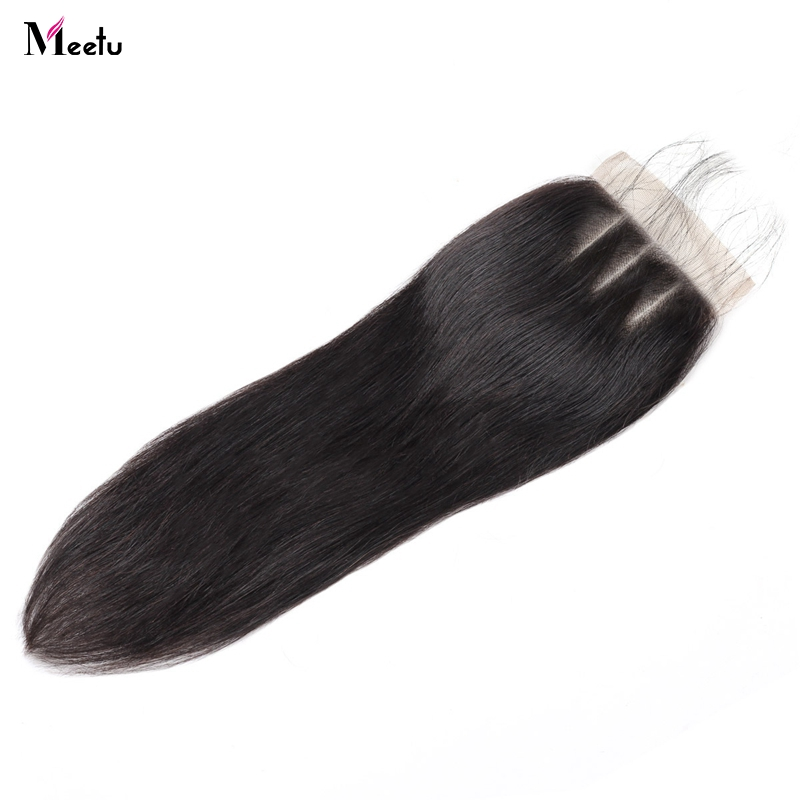 Meetu Malaysian Straight Hair Lace Closure With Baby Hair Free Middle Three Part Non Remy Human Hair Closures 1pc Free Shipping