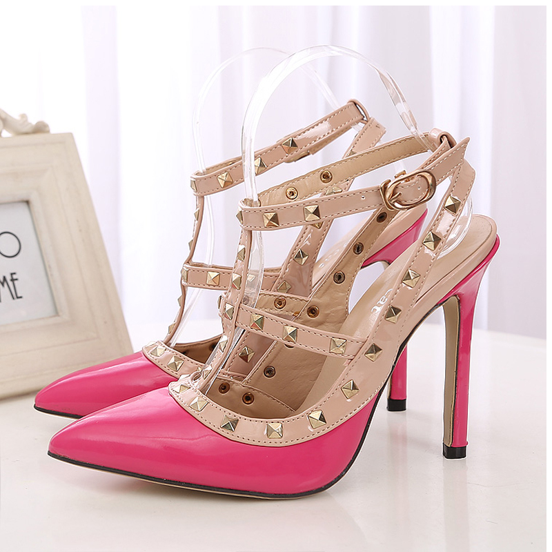 Hot font b Women b font Pumps Ladies Sexy Pointed Toe High Heels Fashion Buckle Studded
