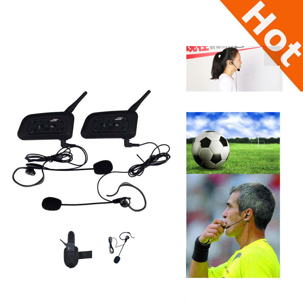 2PCS/lot V6C 1200M Intercom Full Duplex Two-way Football Referee Coach Judger Arbitration Earhook Earphone