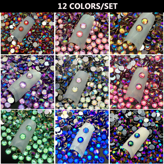 12COLORS set 5MM DIY 3D Acrylic Crystal Rhinestones Nail Decoration Round  Colorful Glitters Nail Art Decorations Free Shipping 4915baf01107