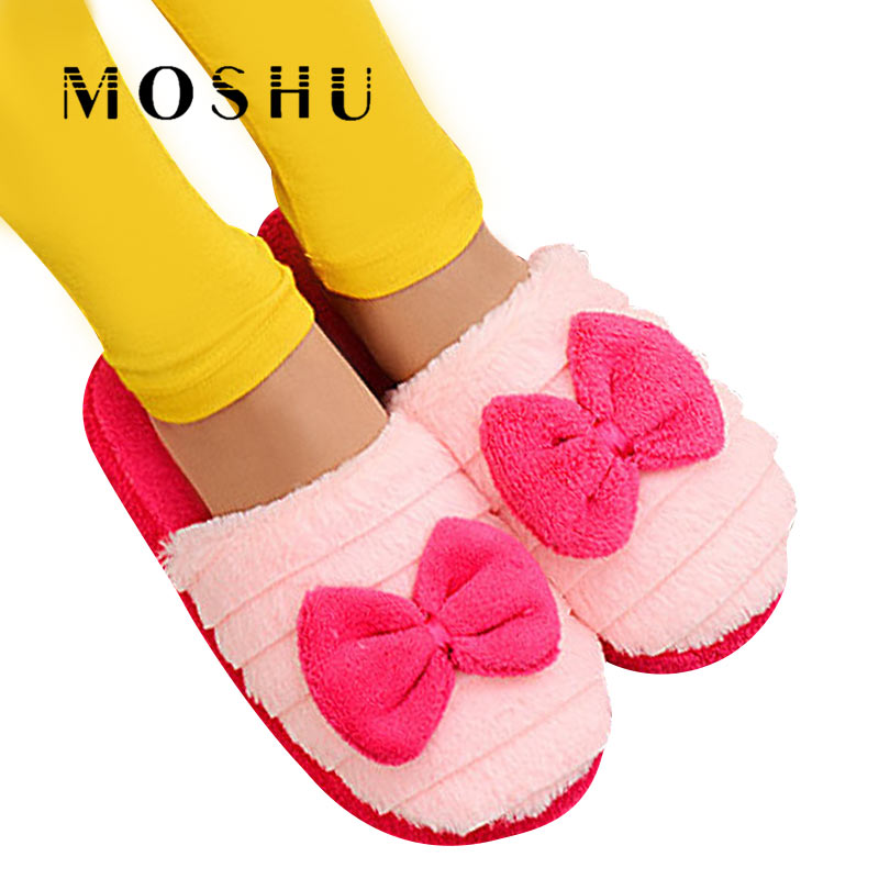 Warm Plush Women Winter Home Slippers Non Slip Cute Butterfly-knot Indoor Soft Furry Slippers Winter Couple Shoes women s winter furry slippers home non slip soft couples cotton thick bottom indoor warm rubber clogs woman shoes