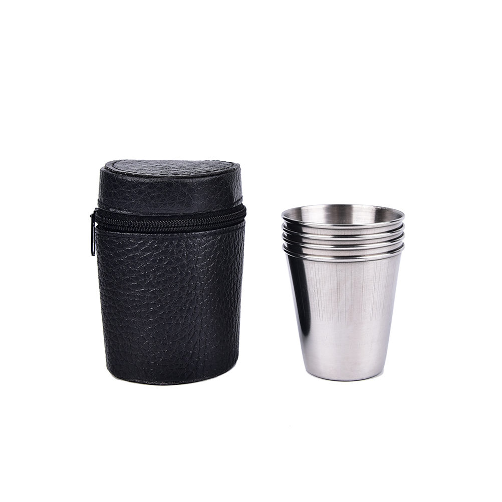4PCS/Set 70ml Stainless Steel Outdoor Camping Cups Mugs Drinking Coffee Tea With Case Drinkware Wholesale Кубок