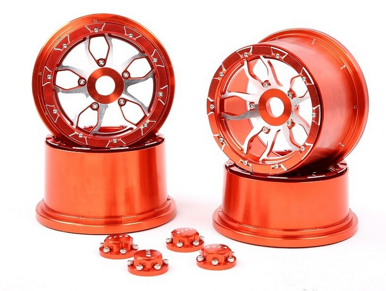 CNC Metal alloy wheel hub set with wheel nuts for 1/5 hpi baja 5b ss rc car parts 5b cnc metal wheel set ts h85129 for baja parts sliver and orange choose with free shipping