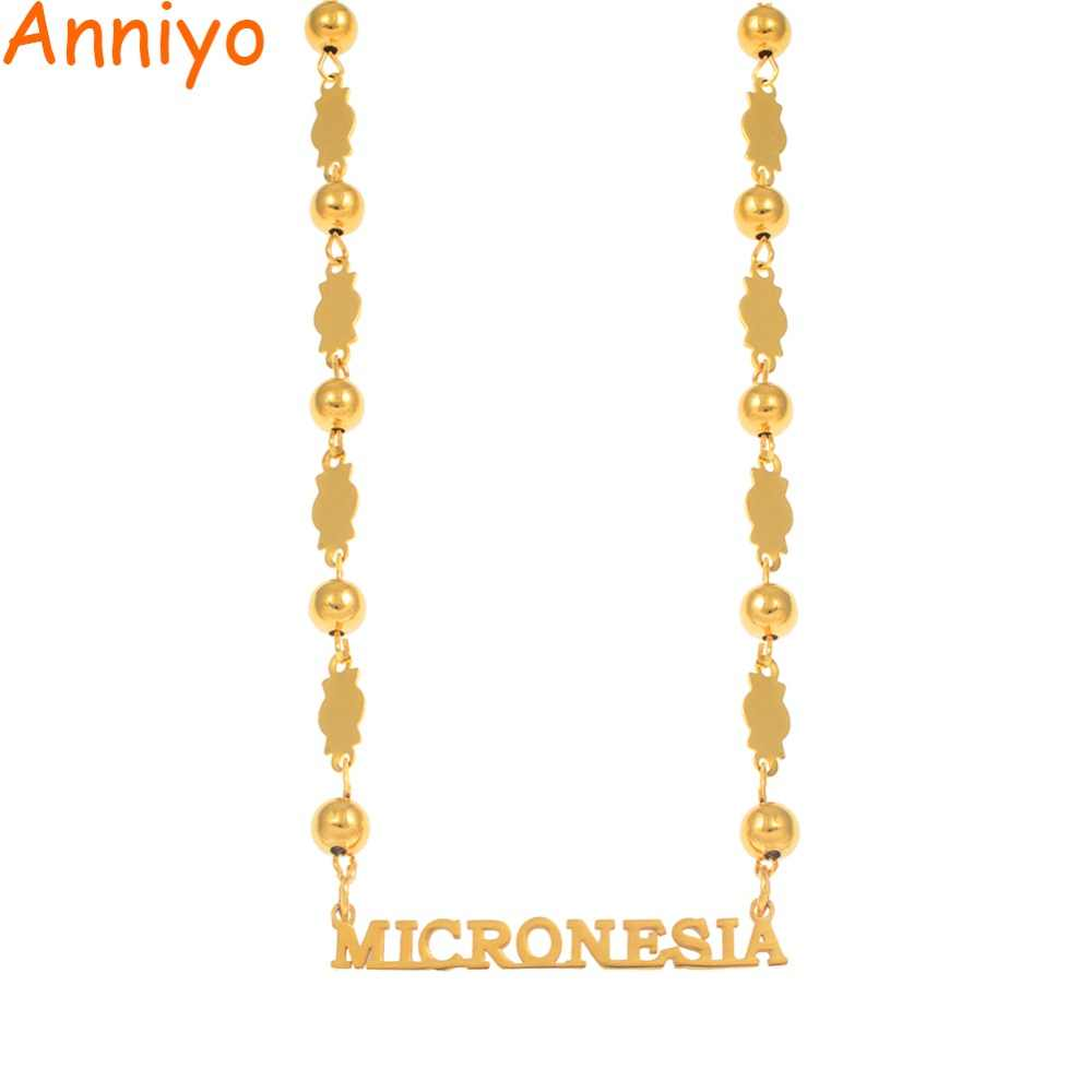 Anniyo MICRONESIA Pendant Beads Necklaces Jewelry for Women Girls Gold Color Ball Chain Jewellery Trendy Gifts #067121