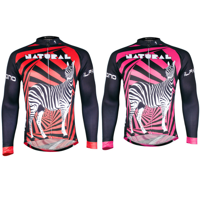 Zebra Pattern Red Long Sleeve Cycling Apparel for Men Polyester Bike Jersey Crewneck Ropa Ciclismo Hombre Size S-6XL