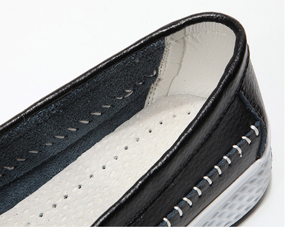 EOFK Handmade Flat Leather Moccasin Slip-on White Ladies Shoes