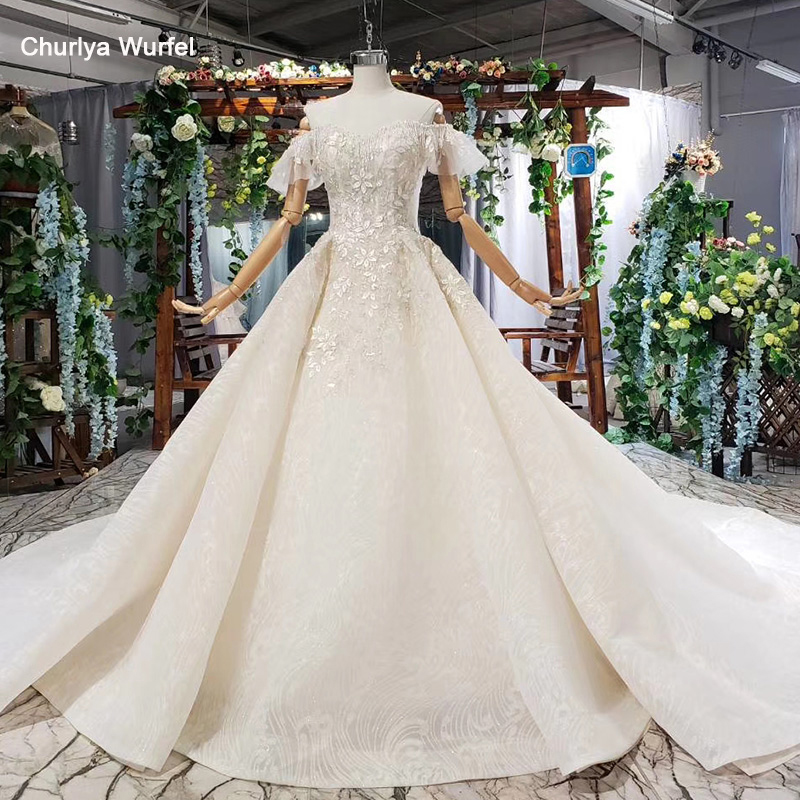 HTL582 light champagne wedding dress with bow appliques sequined off the shoulder wedding gowns with train vestiti da sposa 2019