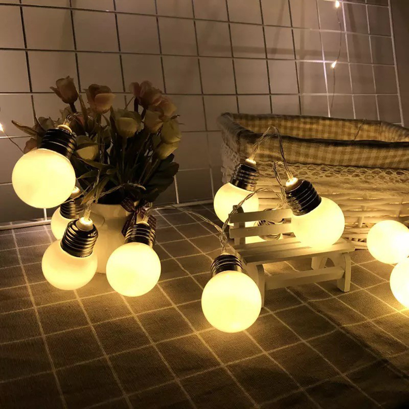 1.5M 10leds 3M 20leds Led Retro Globe Christmas String Lights Battery Powered Outdoor Party Christmas Holiday Decoration Lights