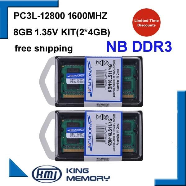 KEMBONA arrivent ordinateur portable ram sodimm DDR3 8 gb (kit de 2 pcs ddr3 4 gb) PC3L-12800 1.35 v faible puissance 204pin mémoire ram