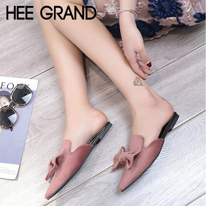HEE GRAND 2018 Women Bow tie Slippers Women Fashion Flats Causal Slide fit for Party Sexy Mujer Sandals Shoes XWT1203